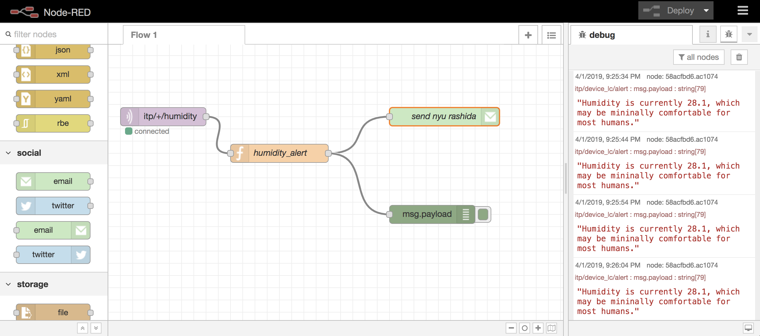Experiments with Grafana + NodeRed