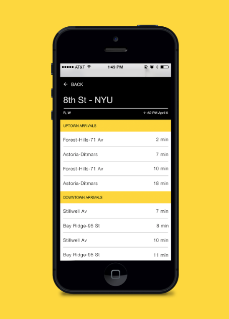 Screenshot of iPhone interface, showing list of subway stations.
