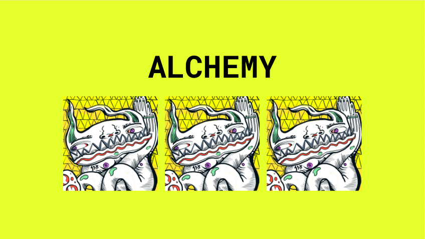 Triptych of illustrated creature (the same image is repeated thrice), with title of 'ALCHEMY'.