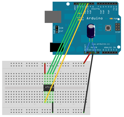 Illustrated diagram of breadboard and Arduino.