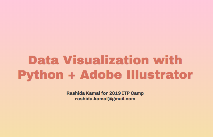 Screenshot of title slide with words 'Data Visualization with Python & Adobe Illustrator