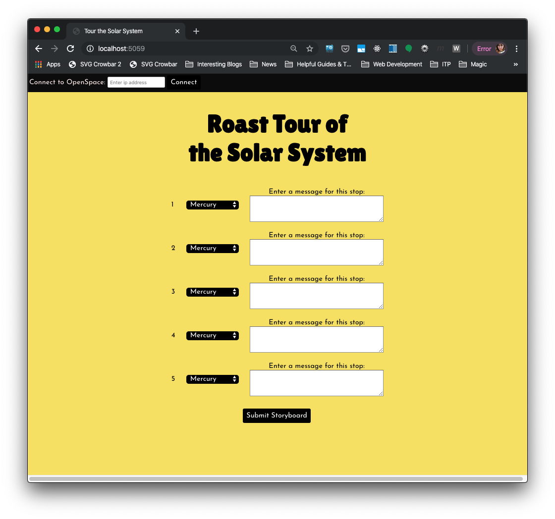 Screenshot of custom web interface for Open Space for a 'Roast Tour of the Solar System'