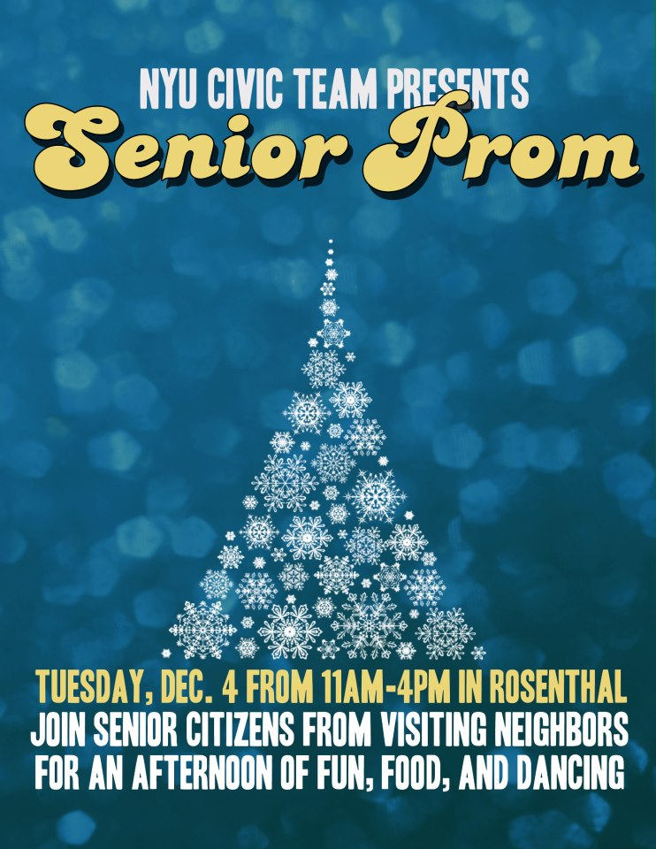 Poster for NYU Civic Team's Senior Prom, featuring illustrated tree, made up of snowflakes.